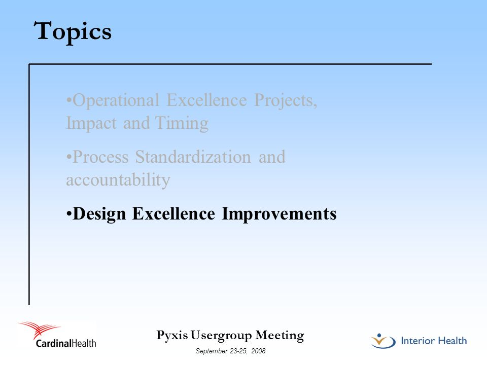 Topics Operational Excellence Projects, Impact and Timing