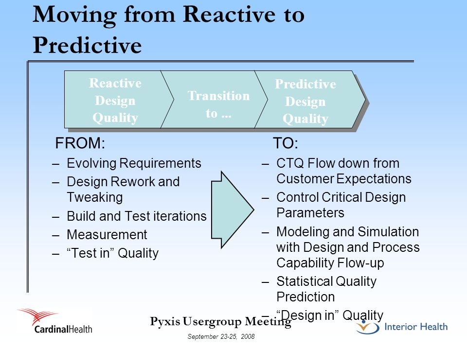 Moving from Reactive to Predictive