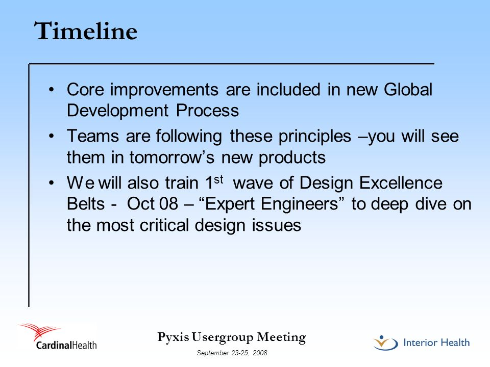 Timeline Core improvements are included in new Global Development Process.