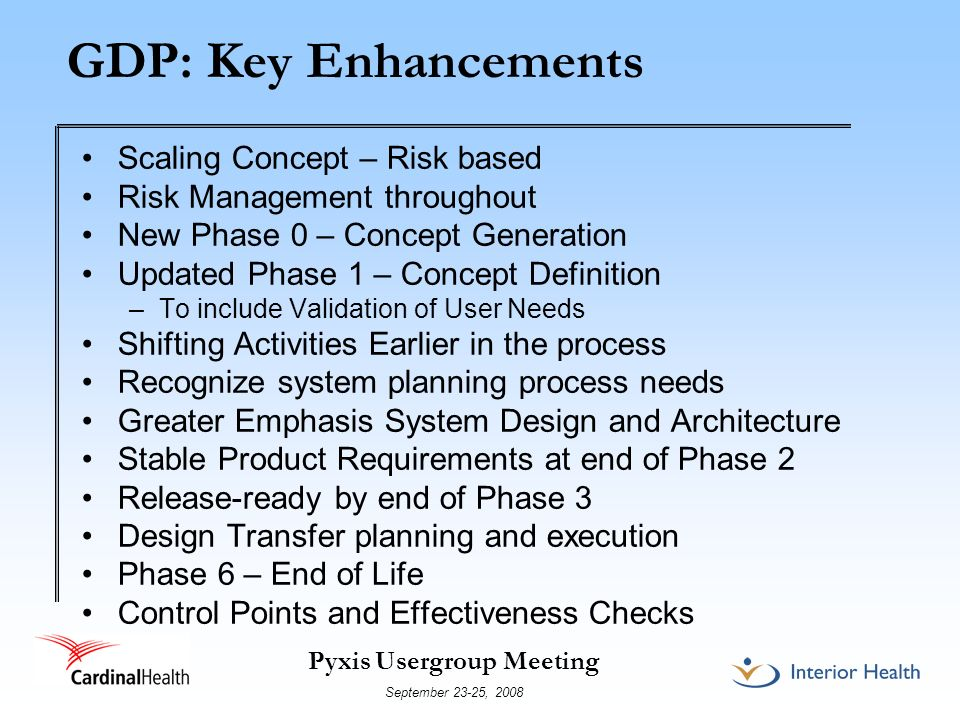 GDP: Key Enhancements Scaling Concept – Risk based