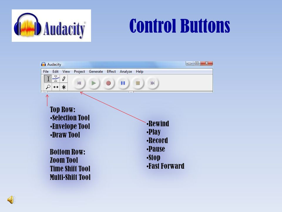 Control Buttons Top Row: Selection Tool Envelope Tool Draw Tool Rewind