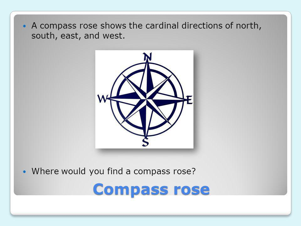 A compass rose shows the cardinal directions of north, south, east, and west.