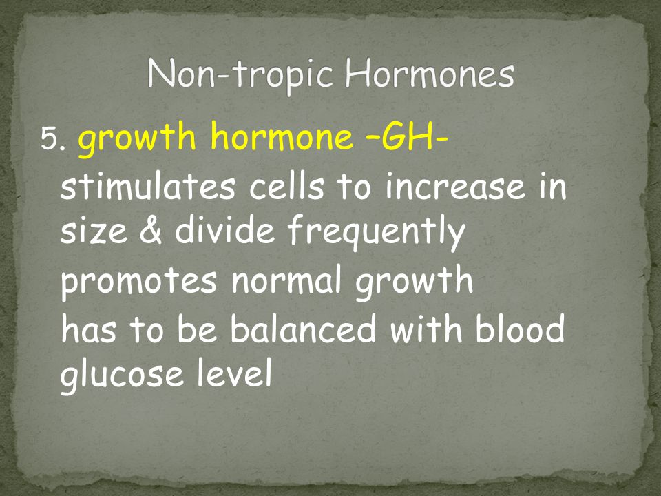 Non-tropic Hormones 5. growth hormone –GH- stimulates cells to increase in size & divide frequently.