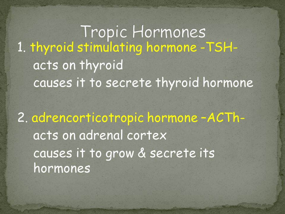 Tropic Hormones 1. thyroid stimulating hormone -TSH- acts on thyroid