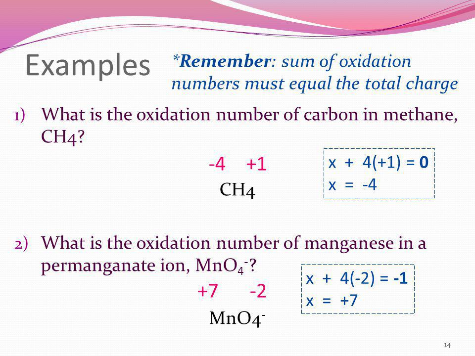 Examples *Remember: sum of oxidation numbers must equal the total charge. What is the oxidation number of carbon in methane, CH4