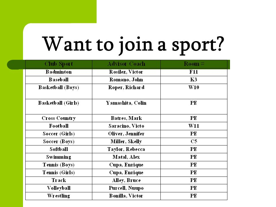 Want to join a sport