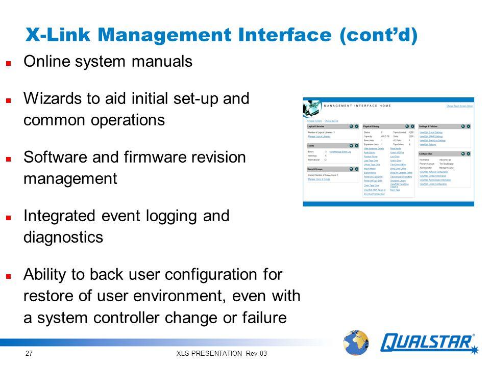 X-Link Management Interface (cont'd)