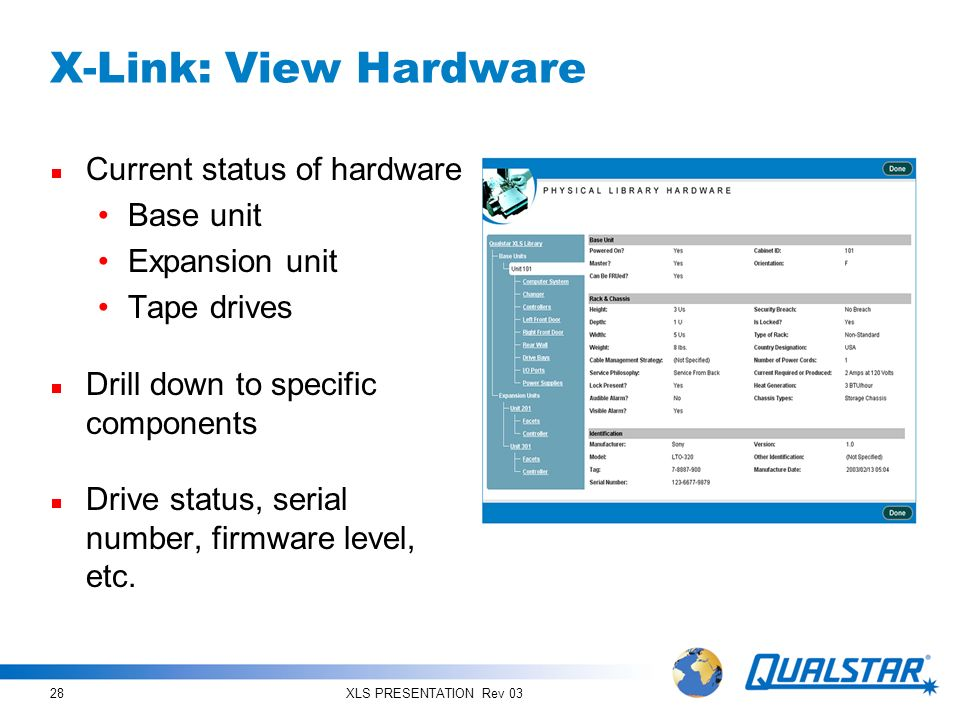 X-Link: View Hardware Current status of hardware Base unit