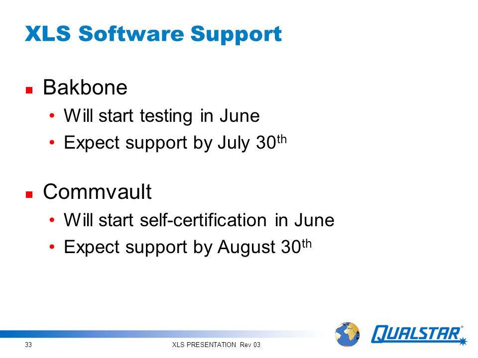 XLS Software Support Bakbone Commvault Will start testing in June