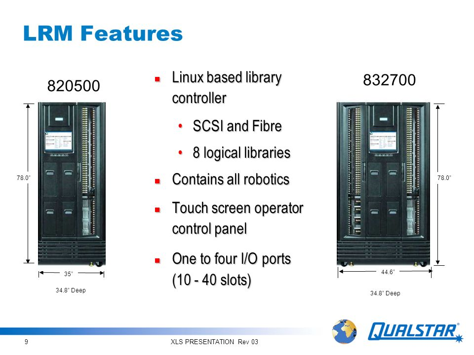 LRM Features Linux based library controller 832700 820500