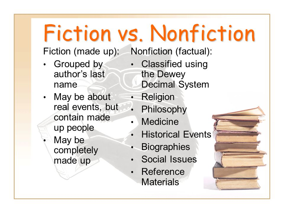 Fiction vs. Nonfiction Fiction (made up):