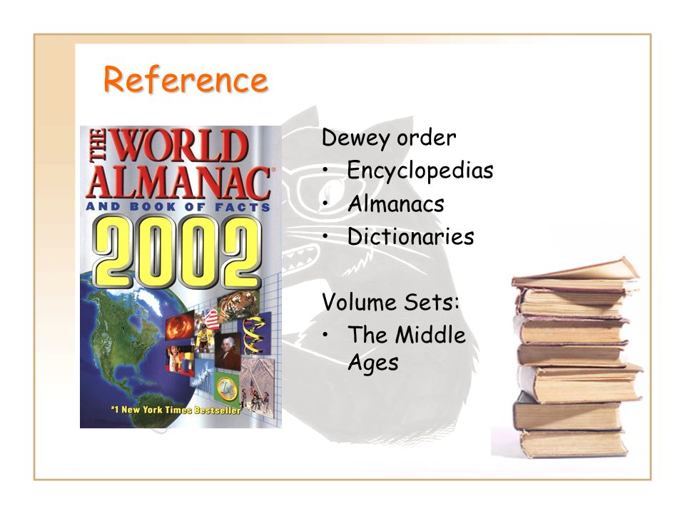 Reference Dewey order Encyclopedias Almanacs Dictionaries Volume Sets: