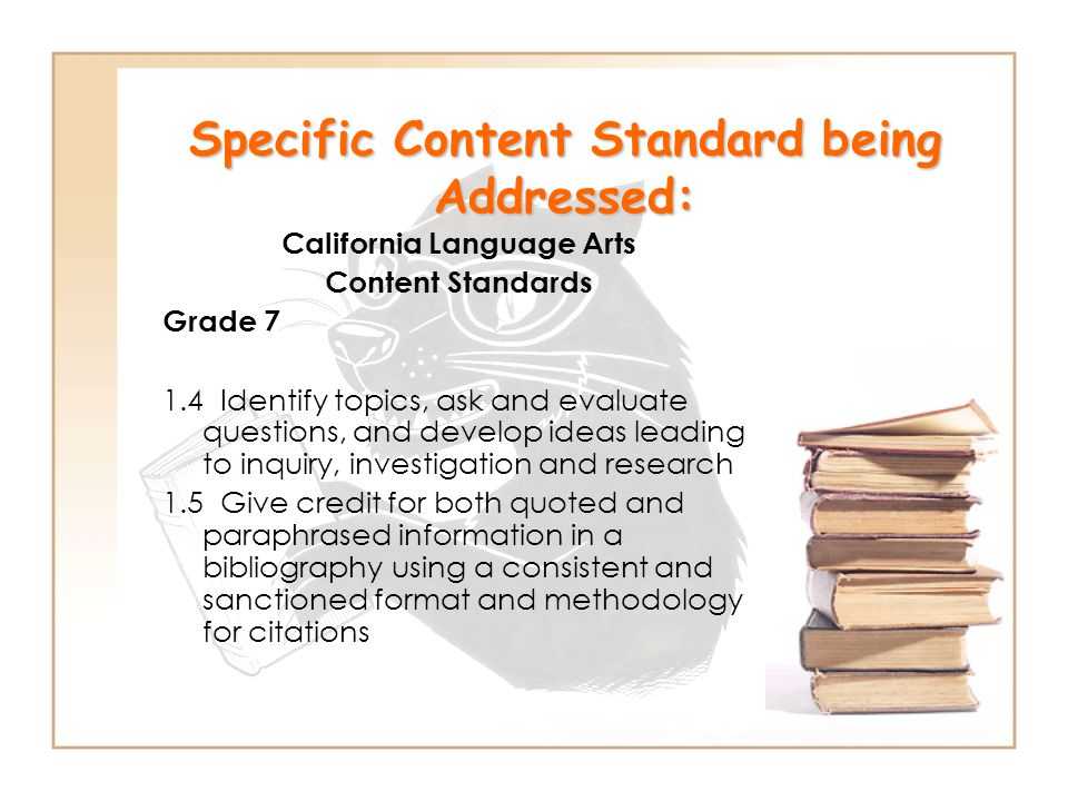 Specific Content Standard being Addressed:
