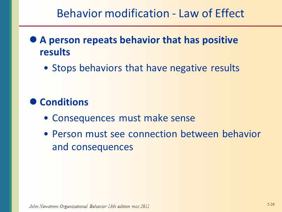 Behavior modification - Law of Effect