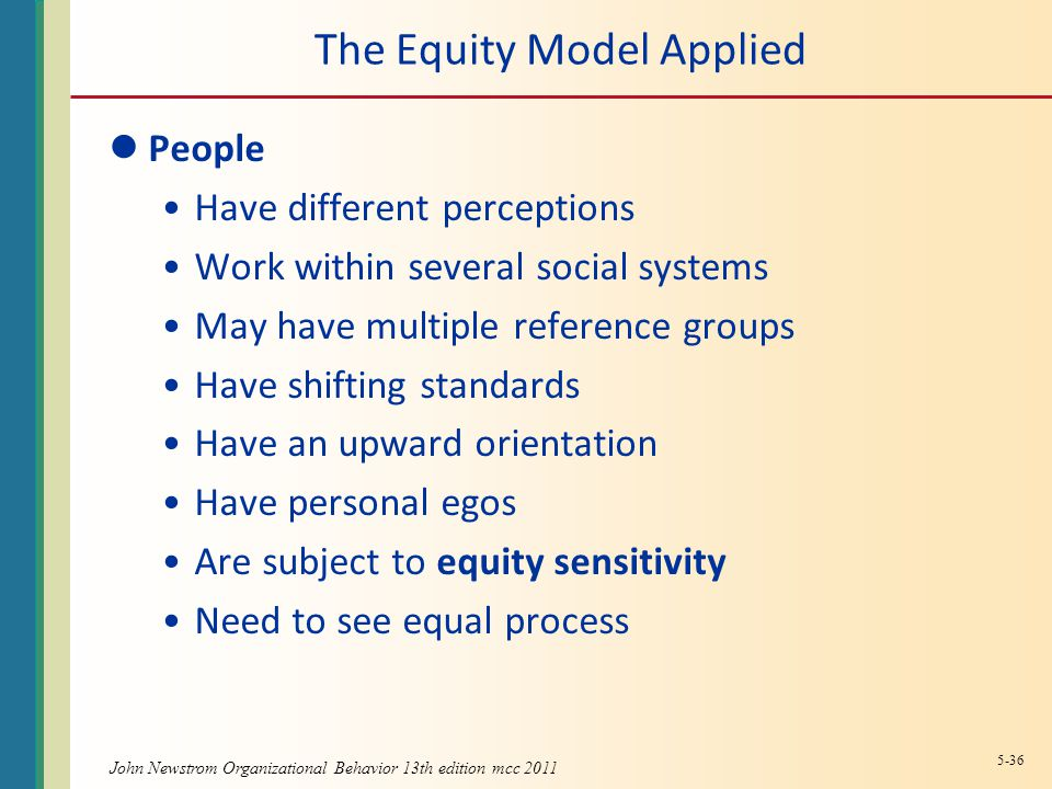 The Equity Model Applied