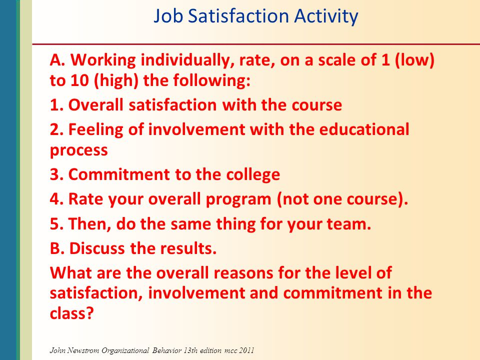 Job Satisfaction Activity