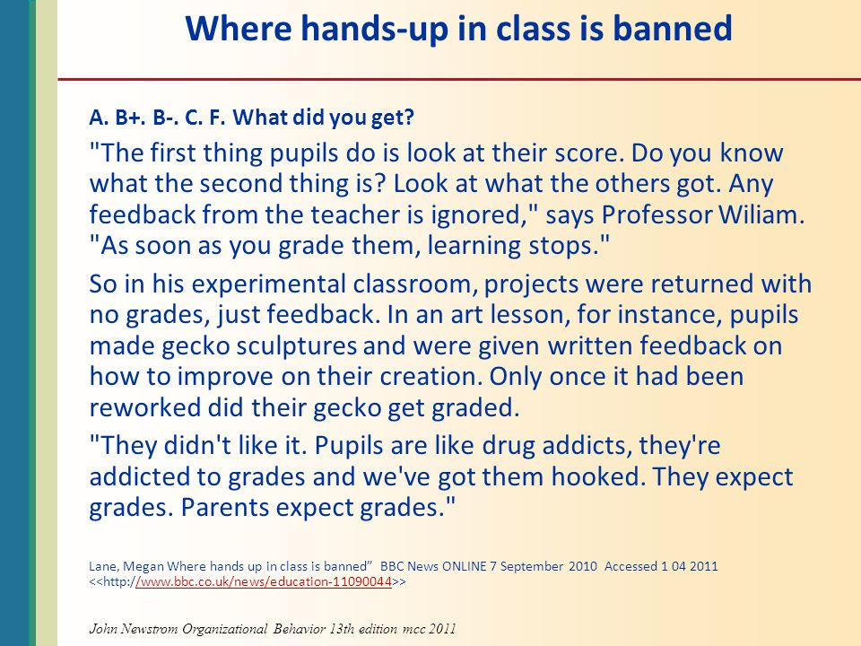 Where hands-up in class is banned
