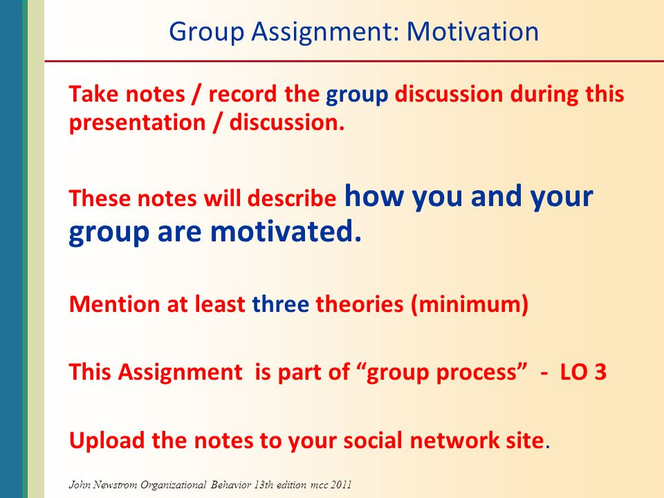 Group Assignment: Motivation