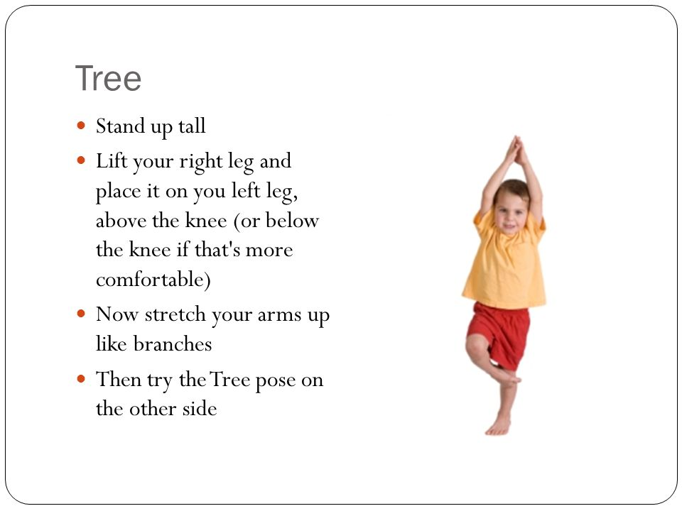 Tree Stand up tall. Lift your right leg and place it on you left leg, above the knee (or below the knee if that s more comfortable)