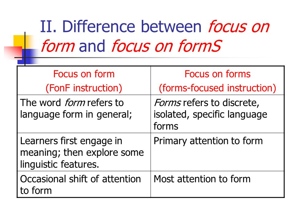 II. Difference between focus on form and focus on formS