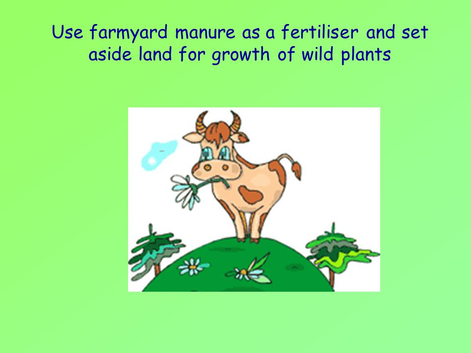 Use farmyard manure as a fertiliser and set aside land for growth of wild plants