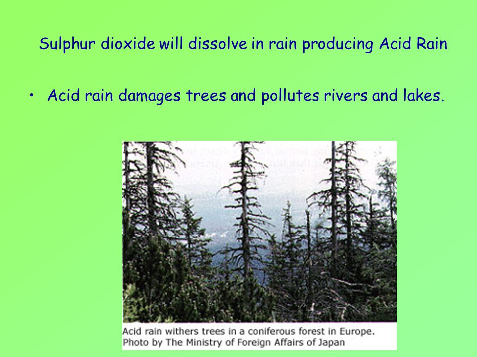 Sulphur dioxide will dissolve in rain producing Acid Rain