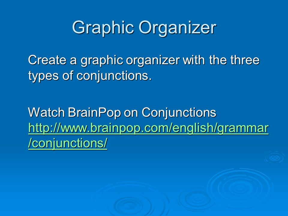 Graphic Organizer Create a graphic organizer with the three types of conjunctions.