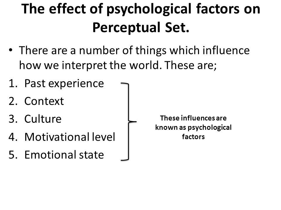 The effect of psychological factors on Perceptual Set.