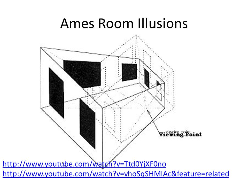 Ames Room Illusions http://www.youtube.com/watch v=Ttd0YjXF0no