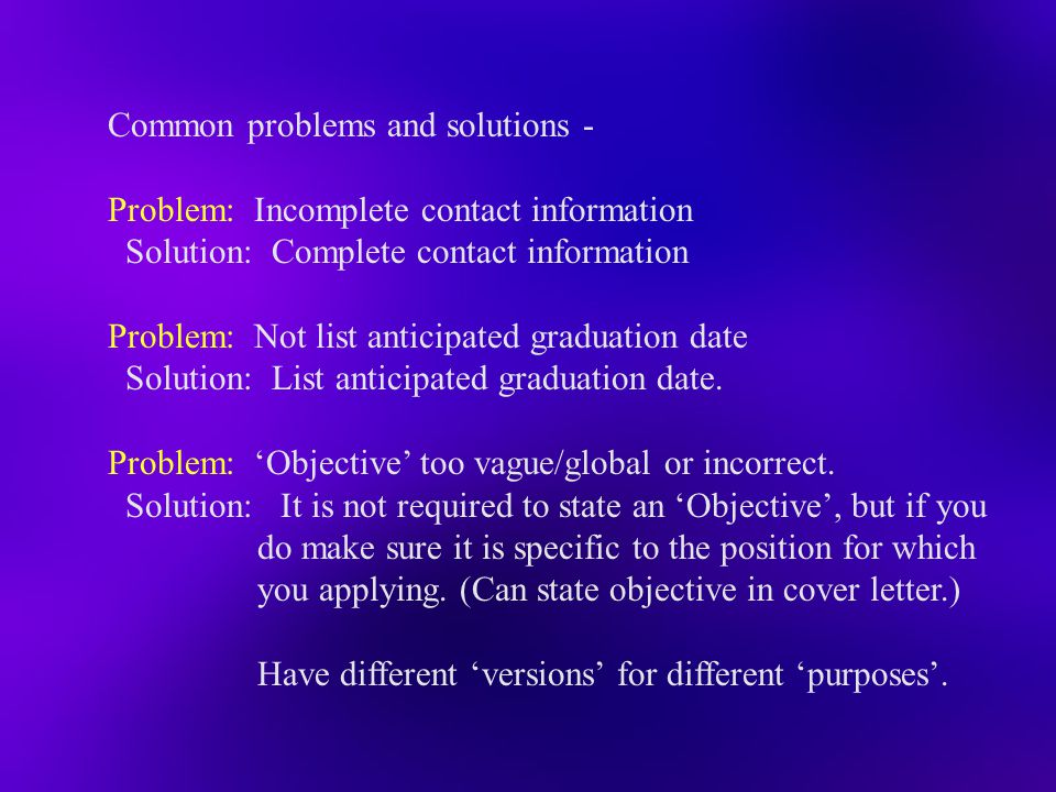 Common problems and solutions -