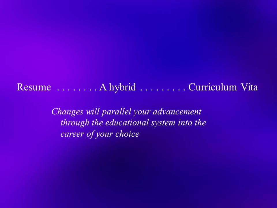 Resume . . . . . . . . A hybrid . . . . . . . . . Curriculum Vita