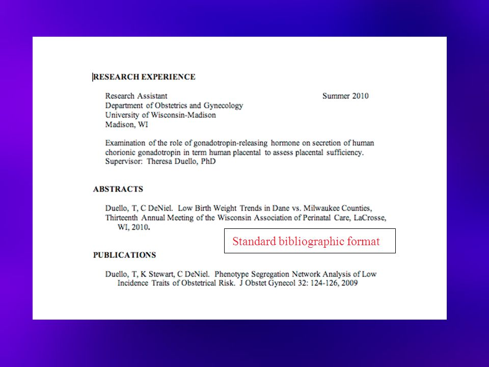 Standard bibliographic format