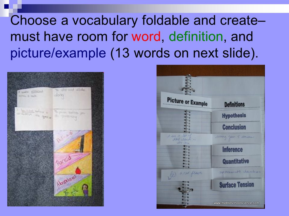 Choose a vocabulary foldable and create– must have room for word, definition, and picture/example (13 words on next slide).