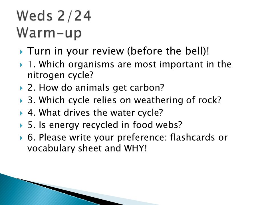Weds 2/24 Warm-up Turn in your review (before the bell)!