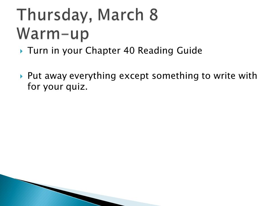 Thursday, March 8 Warm-up