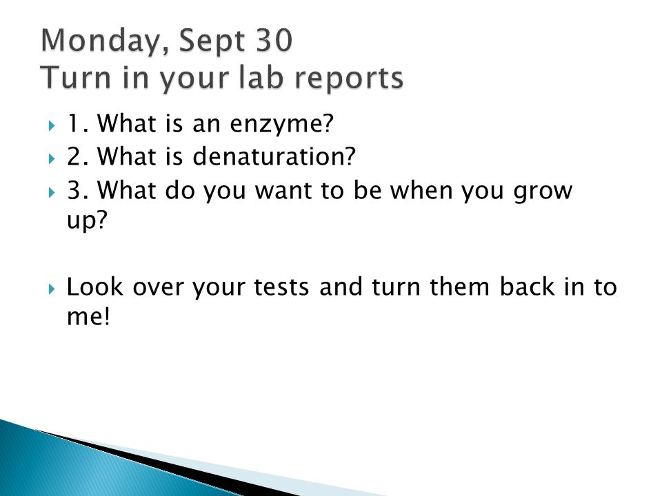 Monday, Sept 30 Turn in your lab reports