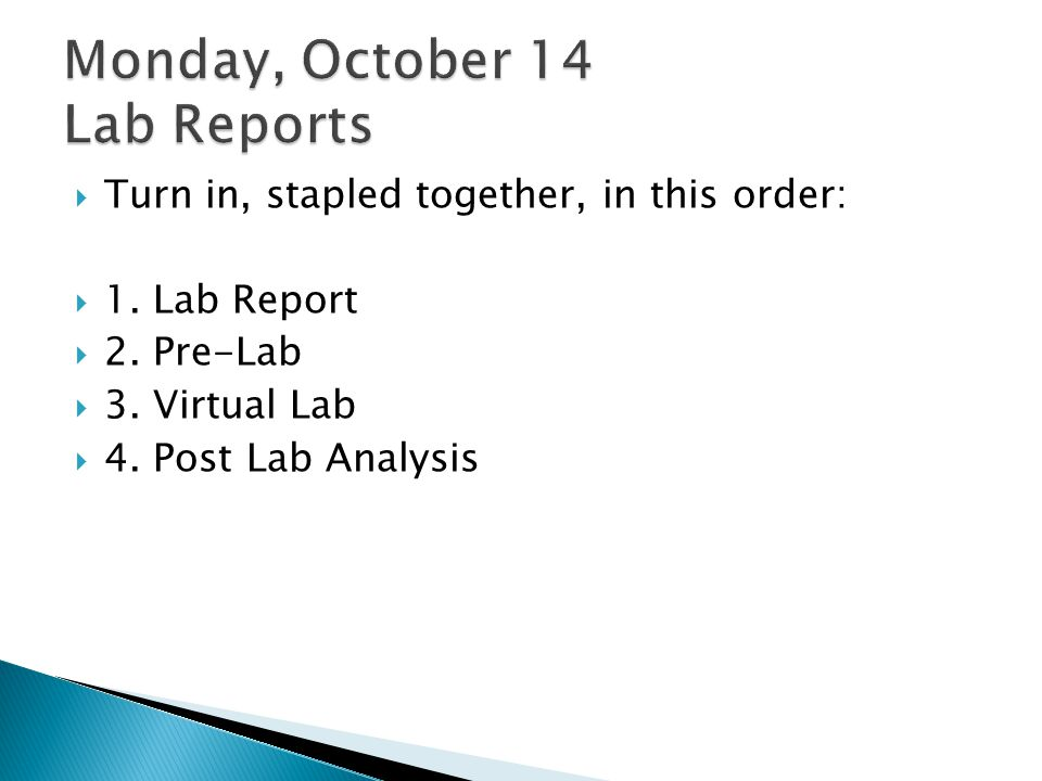 Monday, October 14 Lab Reports