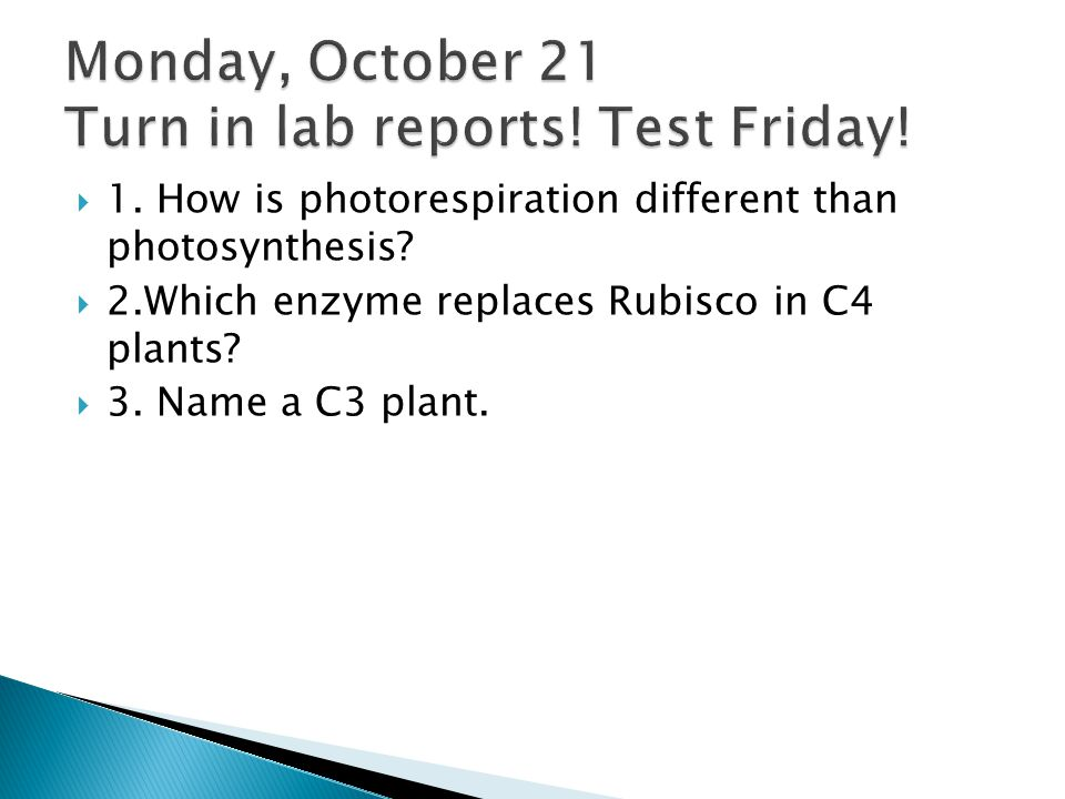 Monday, October 21 Turn in lab reports! Test Friday!