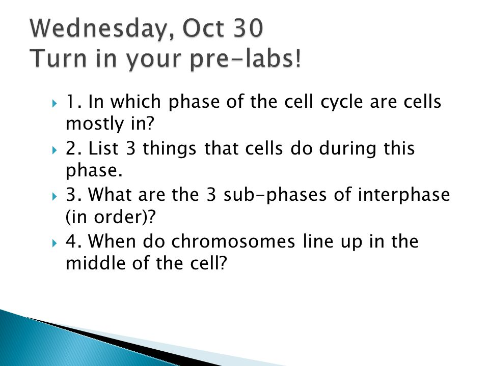 Wednesday, Oct 30 Turn in your pre-labs!
