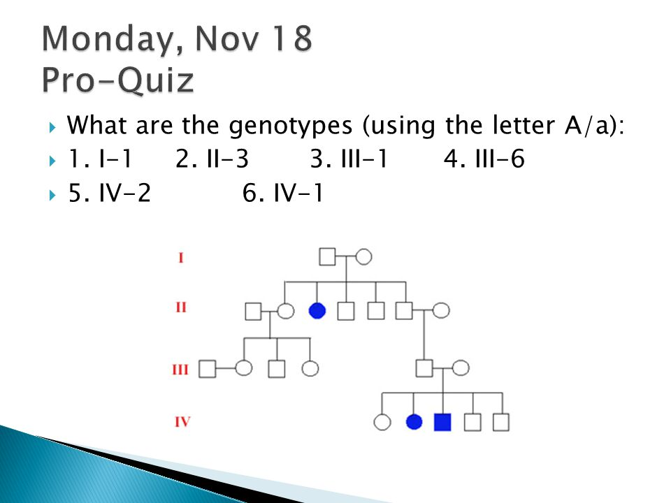Monday, Nov 18 Pro-Quiz What are the genotypes (using the letter A/a):