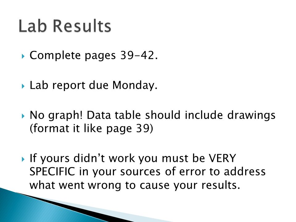 Lab Results Complete pages Lab report due Monday.