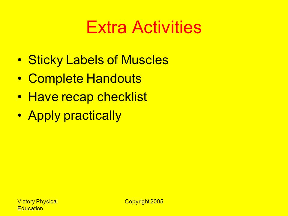 Extra Activities Sticky Labels of Muscles Complete Handouts