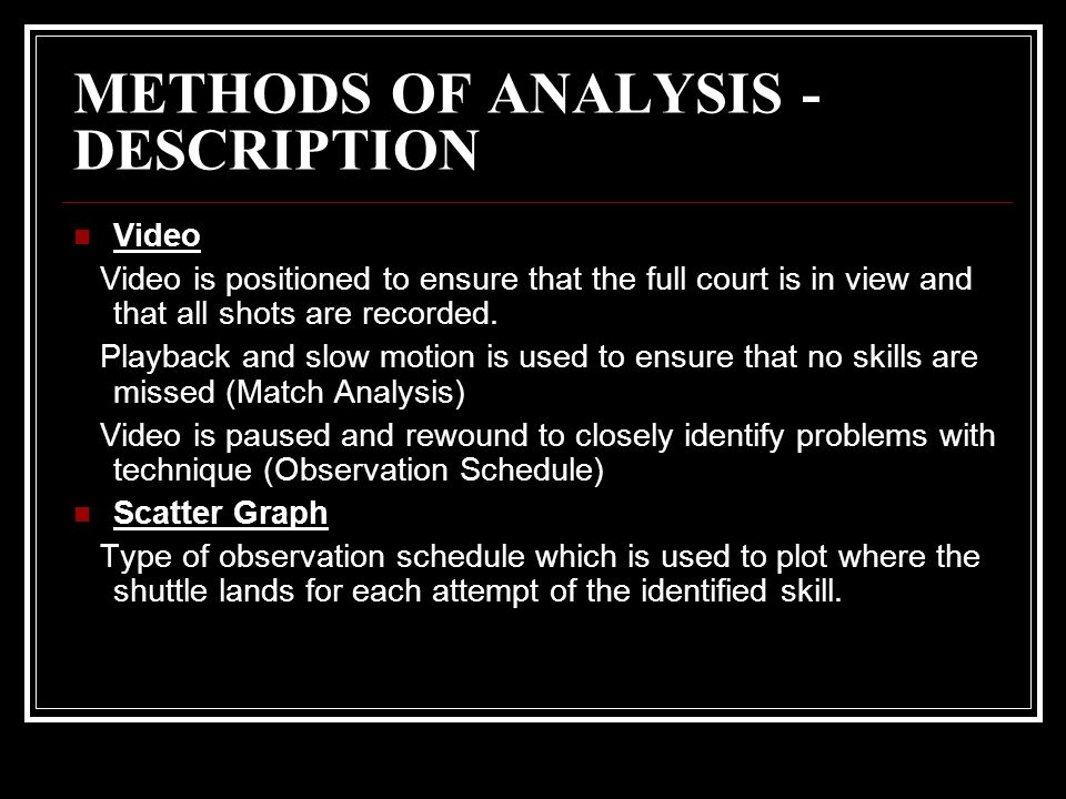 METHODS OF ANALYSIS - DESCRIPTION