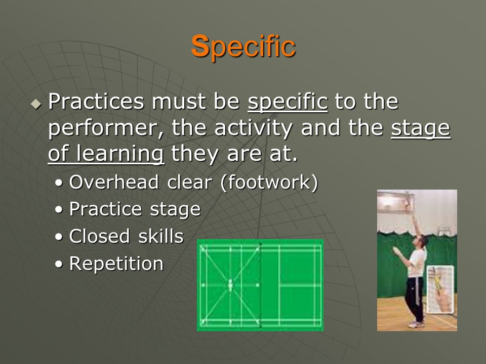 Specific Practices must be specific to the performer, the activity and the stage of learning they are at.