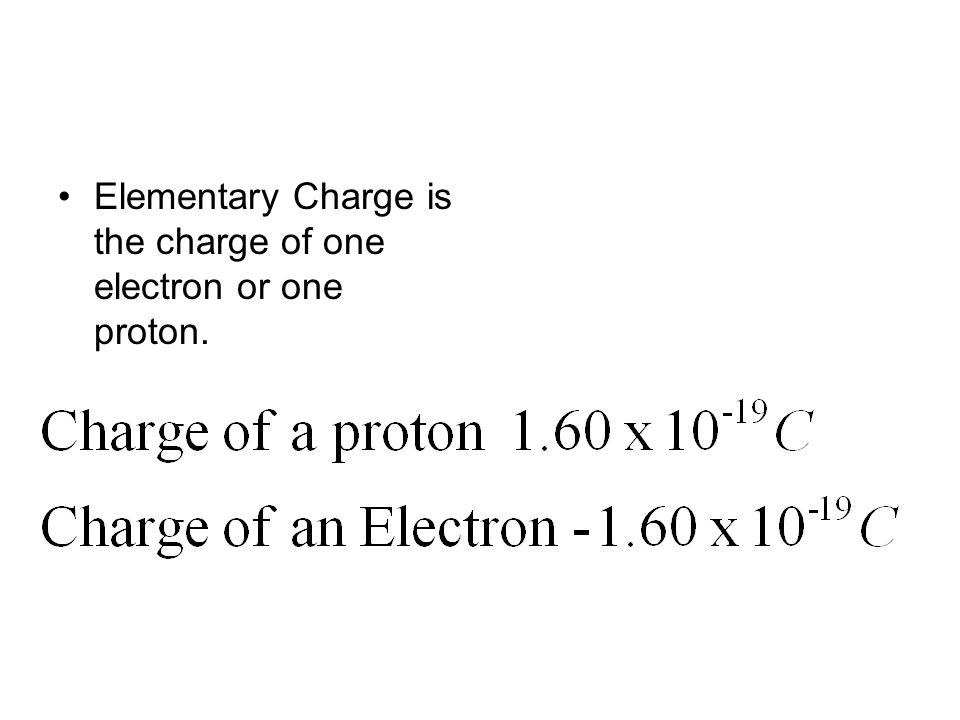 Elementary Charge is the charge of one electron or one proton.