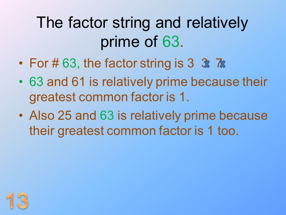 The factor string and relatively prime of 63.