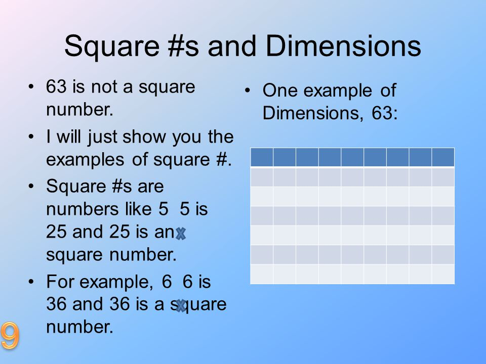 Square #s and Dimensions