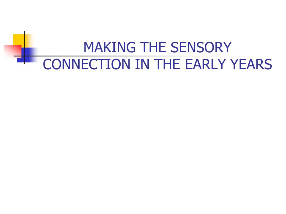 MAKING THE SENSORY CONNECTION IN THE EARLY YEARS
