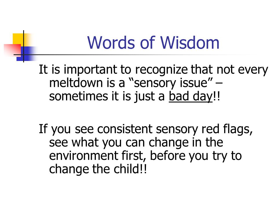 Words of Wisdom It is important to recognize that not every meltdown is a sensory issue – sometimes it is just a bad day!!