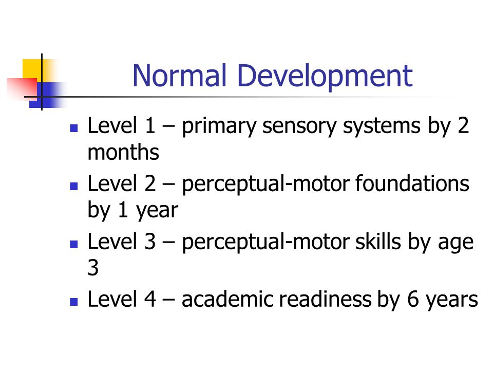 Normal Development Level 1 – primary sensory systems by 2 months